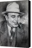 Black Drawings Canvas Prints - Al Capone  Canvas Print by Ylli Haruni