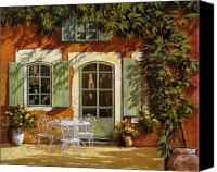 Drink Canvas Prints - Al Fresco In Cortile Canvas Print by Guido Borelli