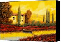 House Painting Canvas Prints - Al Tramonto Sul Fiume Canvas Print by Guido Borelli