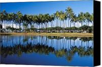 Water Art Canvas Prints - Ala Moana Beach Park Canvas Print by Mary Van de Ven - Printscapes