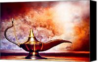 Oil Lamp Canvas Prints - Aladdin Lamp Canvas Print by Olivier Le Queinec