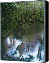 Water Pastels Canvas Prints - Alafia River Reflection Canvas Print by Susan Jenkins