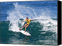 Bikini Canvas Prints - Alana Blanchard Surfing Hawaii Canvas Print by Paul Topp