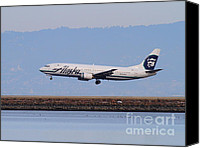 Airways Canvas Prints - Alaska Airlines Jet Airplane At San Francisco International Airport SFO . 7D12232 Canvas Print by Wingsdomain Art and Photography