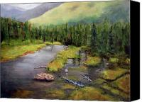 Beaver Painting Canvas Prints - Alaskan Wilderness Canvas Print by Linda Hiller