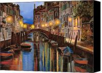 Red Painting Canvas Prints - alba a Venezia  Canvas Print by Guido Borelli