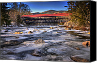 White River Scene Canvas Prints - Albany Covered Bridge-White Mountains of New Hampshire Canvas Print by Thomas Schoeller