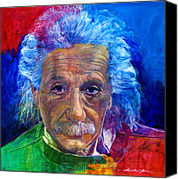Featured Painting Canvas Prints - Albert Einstein Canvas Print by David Lloyd Glover