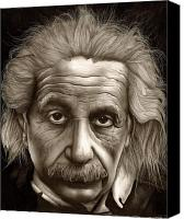 Pencil Drawings Drawings Canvas Prints - Albert Einstein-Millenium Man Canvas Print by Lee Appleby