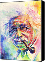 Albert Pastels Canvas Prints - Albert Einstein Canvas Print by Raymond L Warfield jr