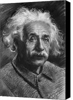 Albert Canvas Prints - Albert Einstein Canvas Print by Ylli Haruni