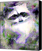 Raccoon Digital Art Canvas Prints - Albino Raccoon Canvas Print by Doris Wood