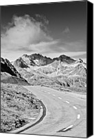 Mountain Scene Canvas Prints - Albula Pass Road Canvas Print by daitoZen