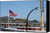 Hyde Street Pier Canvas Prints - Alcatraz Island Through The Hyde Street Pier in San Francisco California . 7D14163 Canvas Print by Wingsdomain Art and Photography