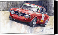 Auto Canvas Prints - Alfa Romeo Giulie Sprint GT 1966 Canvas Print by Yuriy  Shevchuk
