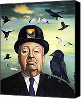 Scary Painting Canvas Prints - Alfred Hitchcock Canvas Print by Leah Saulnier The Painting Maniac