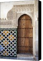 Old Wall Canvas Prints - Alhambra door detail Canvas Print by Jane Rix