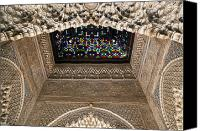 Old Wall Canvas Prints - Alhambra stained glass detail Canvas Print by Jane Rix