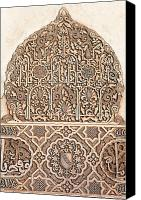 Arabian Canvas Prints - Alhambra wall panel detail Canvas Print by Jane Rix