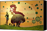 Mushroom Canvas Prints - Alice and the Caterpillar  Canvas Print by Carol and Mike Werner