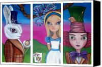 Jasmine Painting Canvas Prints - Alice in Wonderland Inspired Triptych Canvas Print by Jaz Higgins