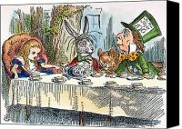 Mad Hatter Canvas Prints - Alices Mad-tea Party, 1865 Canvas Print by Granger