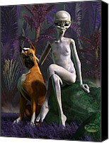 Paranormal  Digital Art Canvas Prints - Alien and Dog Canvas Print by Daniel Eskridge