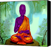 Airbrush Art Digital Art Canvas Prints - Alien Buddha Meditation  Canvas Print by Niklas  Bates