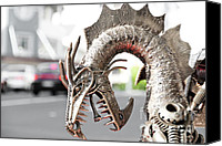 Aggression Sculpture Canvas Prints - Alien Invasion.Dragon. Canvas Print by Yurix Sardinelly