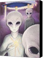 Aliens Canvas Prints - Alien Offering Canvas Print by Amy S Turner