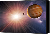 Planetary Canvas Prints - Alien Planet And Star, Artwork Canvas Print by Detlev Van Ravenswaay
