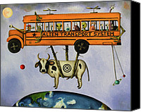 Monster Painting Canvas Prints - Alien Transport System Canvas Print by Leah Saulnier The Painting Maniac