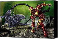 Tony Canvas Prints - Alien vs Iron Man Canvas Print by Pete Tapang