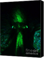 Ghosts Digital Art Canvas Prints - Aliens - First Contact - Green Canvas Print by Wingsdomain Art and Photography
