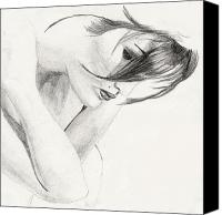 Life Drawing Drawings Canvas Prints - Alison Canvas Print by Michael McKenzie