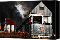 Factories Canvas Prints - Alive and Well in America . Nightfall At The Old Industrial Sand Plant in Berkeley California . 7D13 Canvas Print by Wingsdomain Art and Photography