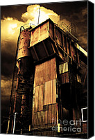 Factories Canvas Prints - Alive and Well in America . The Old Concrete Plant in Berkeley California . Golden . 7D13967 Canvas Print by Wingsdomain Art and Photography