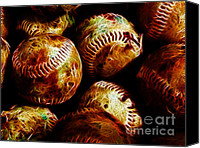 Major League Baseball Digital Art Canvas Prints - All American Pastime - A Pile of Fastballs - Electric Art Canvas Print by Wingsdomain Art and Photography