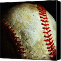 Major League Baseball Digital Art Canvas Prints - All American Pastime - Baseball - Square - Painterly Canvas Print by Wingsdomain Art and Photography