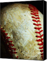 Major League Baseball Digital Art Canvas Prints - All American Pastime - Baseball - Vertical Cut - Painterly Canvas Print by Wingsdomain Art and Photography