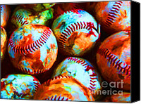 Major League Baseball Digital Art Canvas Prints - All American Pastime - Pile of Baseballs - Painterly Canvas Print by Wingsdomain Art and Photography