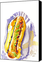 Sonic Mixed Media Canvas Prints - All Beef Ballpark Hot Dog with the Works to Go in Broad Daylight III Canvas Print by Kip DeVore