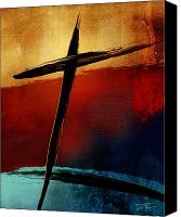 Red Cross Mixed Media Canvas Prints - All For You Canvas Print by Shevon Johnson