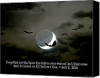 Creepy Digital Art Canvas Prints - All Hallows Eve Canvas Print by Susan Bordelon