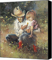 Cowboy Art Painting Canvas Prints - All of Lifes Little Wonders Canvas Print by Mia DeLode