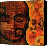 Tibetan Mixed Media Canvas Prints - All Seeing Canvas Print by Gloria Rothrock