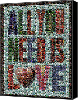 Beatles Canvas Prints - All You Need IS Love Mosaic Canvas Print by Paul Van Scott