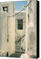 Old Houses Canvas Prints - alley in Greece Canvas Print by Joana Kruse