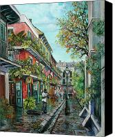 Scenes Painting Canvas Prints - Alley Jazz Canvas Print by Dianne Parks