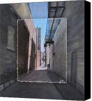 3rd Canvas Prints - Alley with Guy Reading layered Canvas Print by Anita Burgermeister